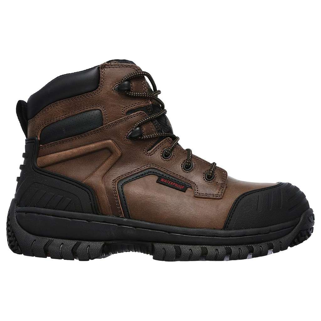 a4f4bee65b1 Skechers Men's Work Boots Hartan Onkin ST WP Dark Brown 77121