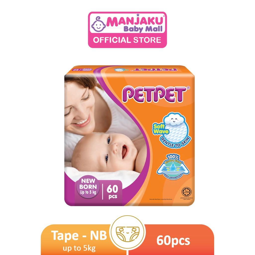 Petpet Tape Diaper Jumbo Pack (New) - NB / S