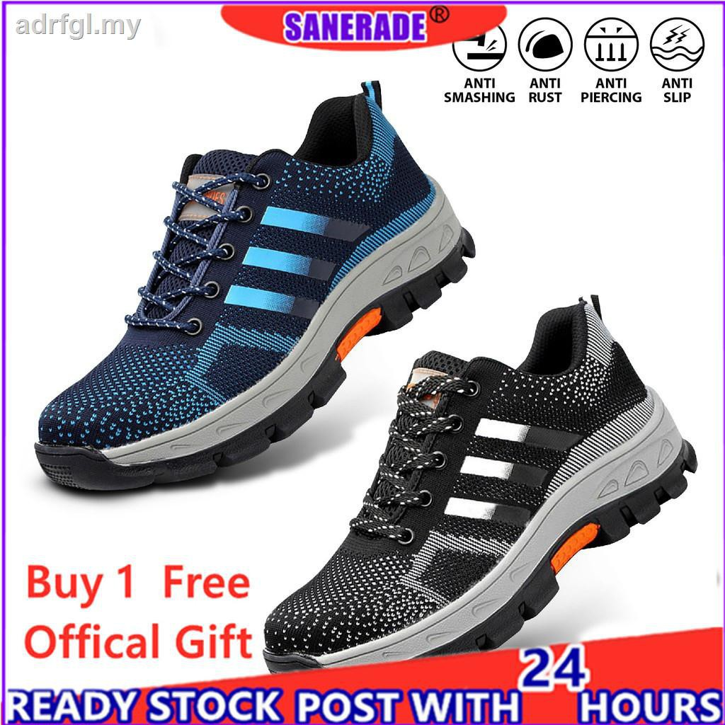 ♨☬【 100% High Quality 】Size 35-48 ADIDAS Safety Shoes Style Sneakers Men Women Low-Cut Steel Toe Cap Work Stab and Smash Resistant Sports