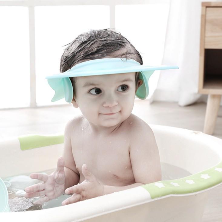 Adjustable Bathing Shower Shampoo Water Cap Hat Ear Hair Shield For Kids Baby
