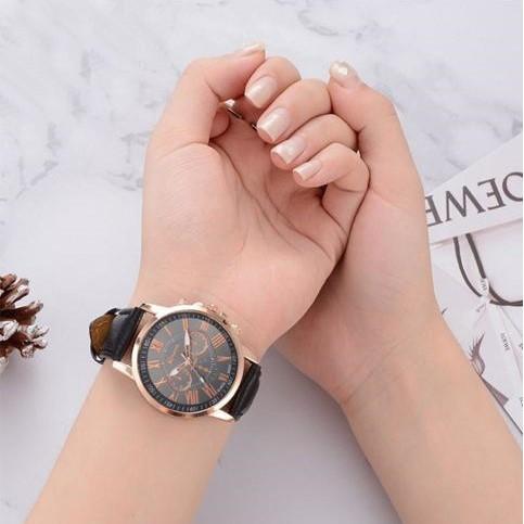 Jam Tangan Wanita PU Genuine Leather Quartz Watches Women Unisex Original W00136