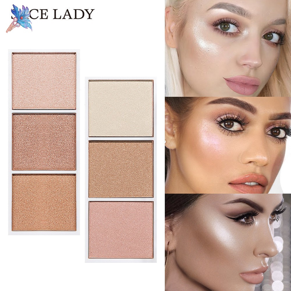 New 3 Colors Shading Powder Makeup Highlighter Pallet Beauty Shimmer Contour Female
