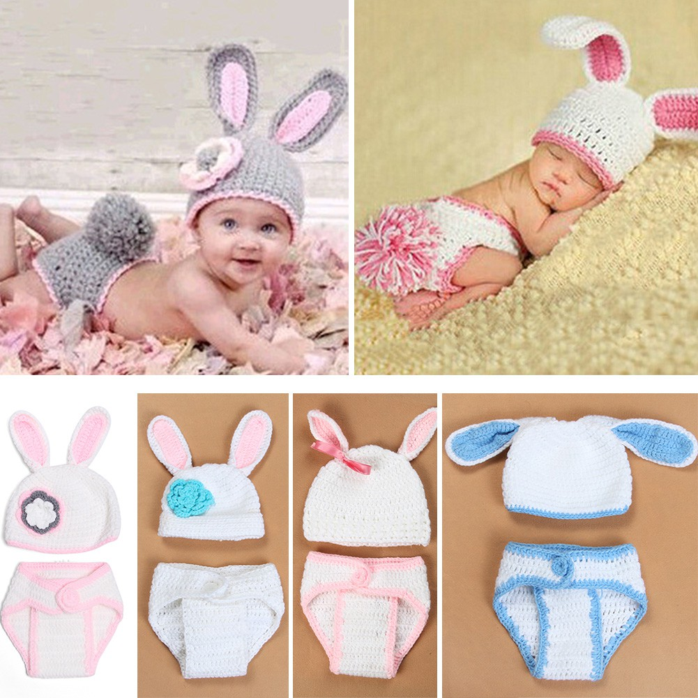 930fc0e945683 Baby Newborn Boys Girls Crochet Knit Costume Photography Bunny Prop Hat  Outfit