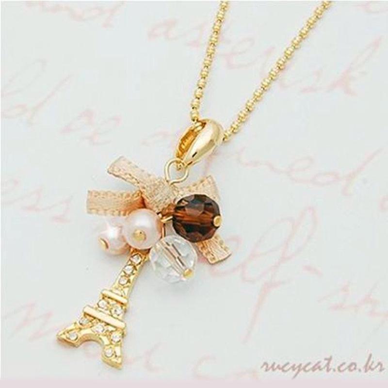 Gift Gold Fashion Jewellery Necklace Paris Eiffel Tower Pendant//Chain