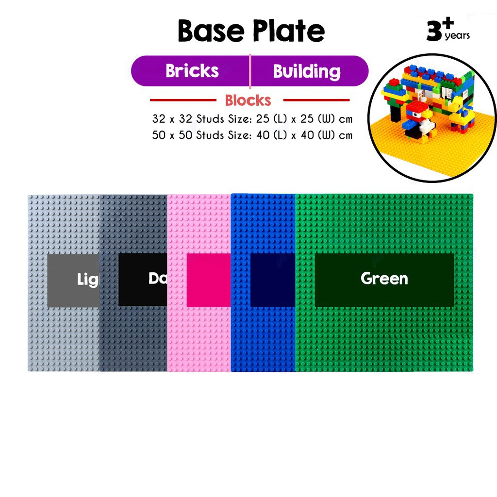 X Large Green 50x50 Studs 40cm BASE PLATE Compatible Brands Construction Blocks