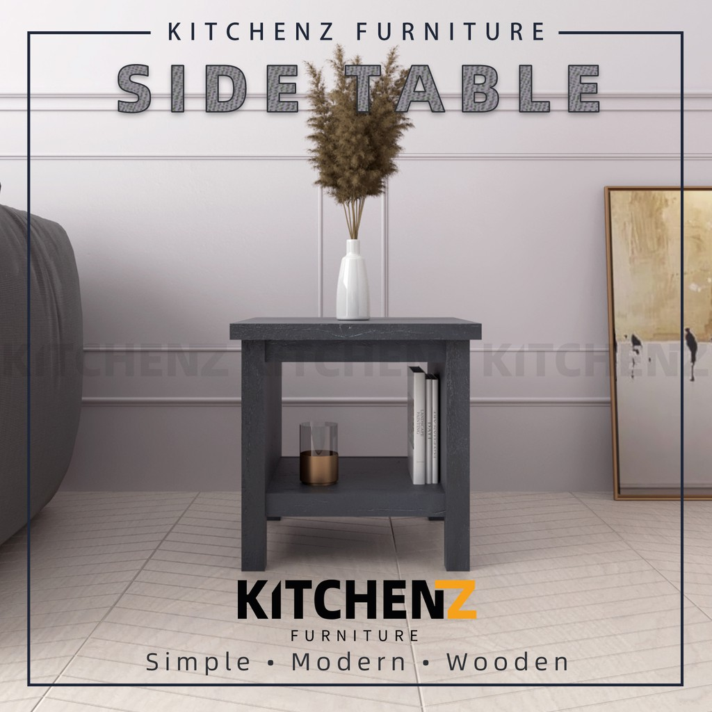 Kitchen Z 1.5FT Akara Series Side Table Modernist Design Solid Board with Plastic Wood Leg Meja Sisi - HMZ-FN-ST-A4848-DG