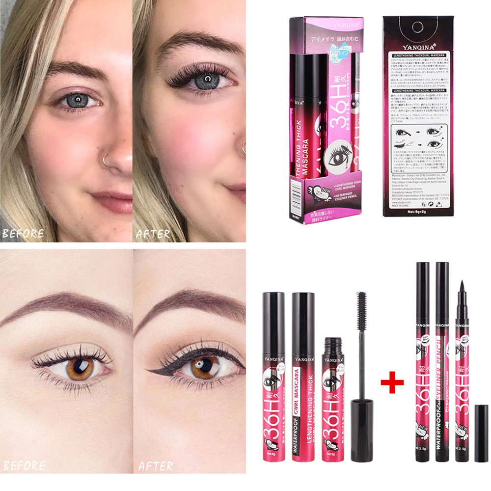 3D Silk Fiber Mascara+Quick-Drying Eyeliner Set Lengthening Eyelash Extension