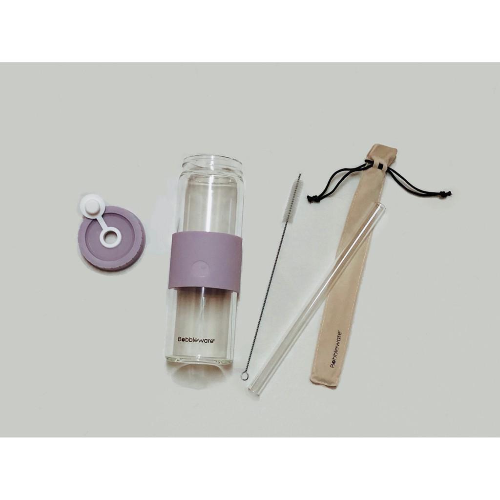 Bobbleware Reusable Borosilicate Glass Tumbler - Ivory, Peach & Lilac 700ml