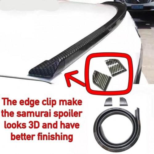 Samurai Universal Rear Bonnet Spoiler Carbon Car Rubber Strip(With 2 Edge Clip)