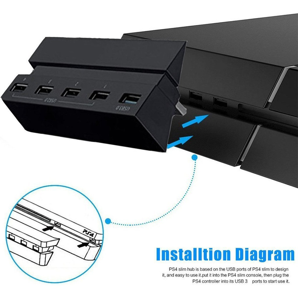 5 Port HUB for PS4, USB 3 0 High Speed Charger Controller Splitter Expansion
