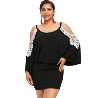 Plus Size Open Shoulder Blouson Dress