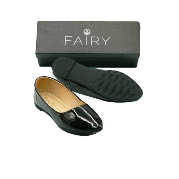 รองเท้าส้นแบน 888-C1B  คัชชูหนังแก้ว  FAIRY