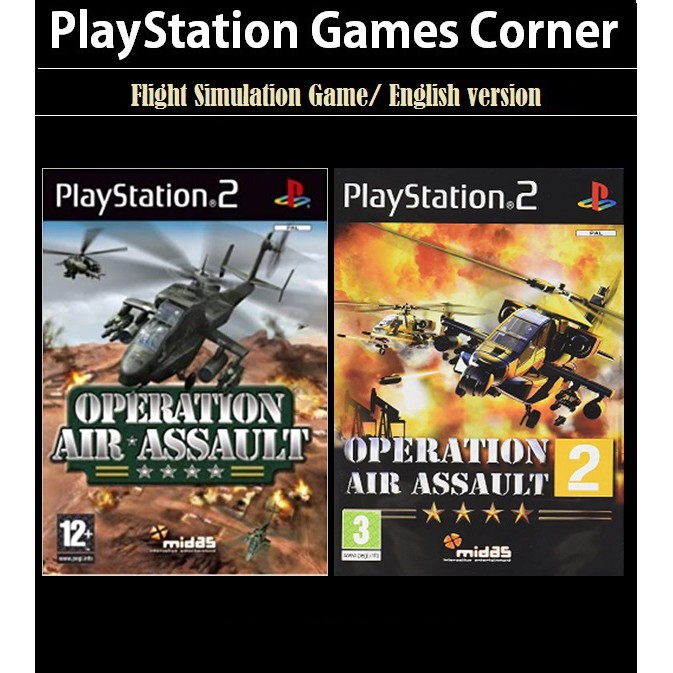 PS2 Game Operation Air Assault 1 2, Helicopter Combat Game, English version / PlayStation 2