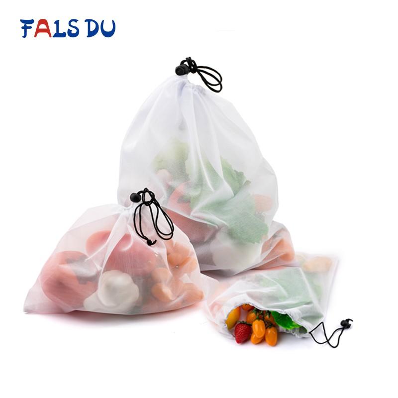 Fais Du Reusable Mesh Produce Bags Washable Eco Friendly for Grocery Shopping Storage Fruit (15/9/3 Pcs)