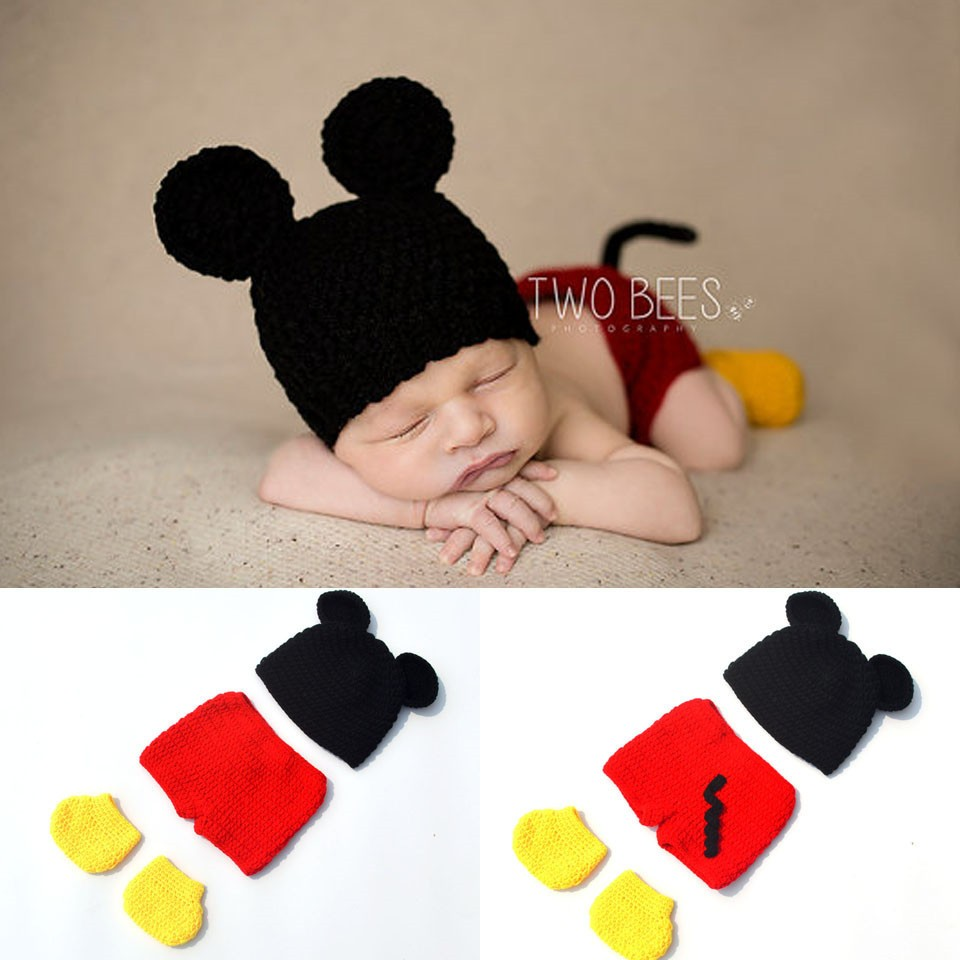 b0f23115c2654 Baby Boy Cartoon Mickey Photo Props New Style Baby Crochet Photography Props