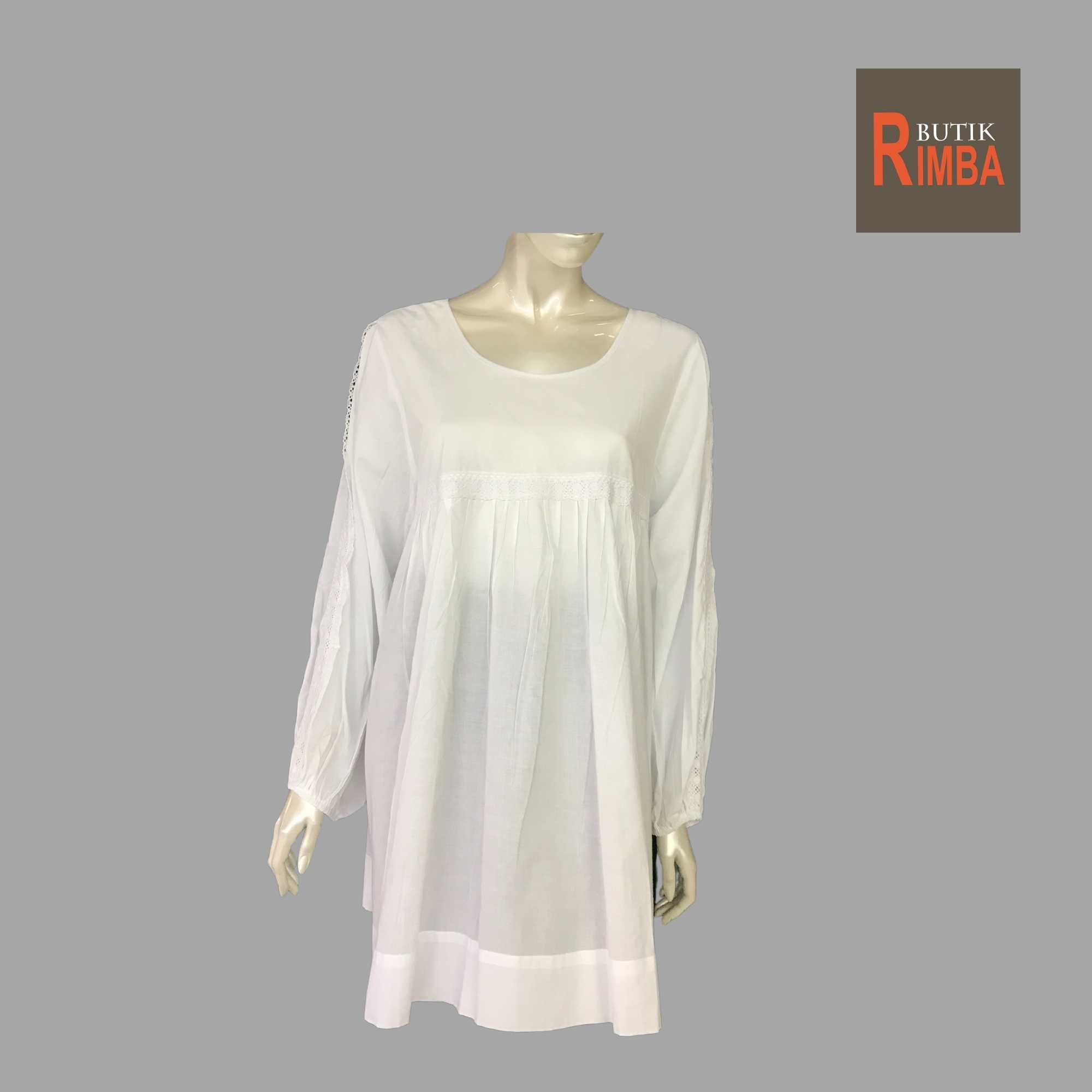 WOMEN CASUAL AND COMFORTABLE WHITE BLOUSE COTTON FREE SIZE PATTERN 03