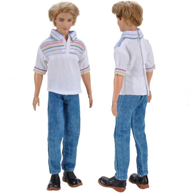 88e6006a7360d 1set 1/6 White Rainbow Polo Shirt & Jeans Pants Barbie's Friend Ken Doll  Clothes