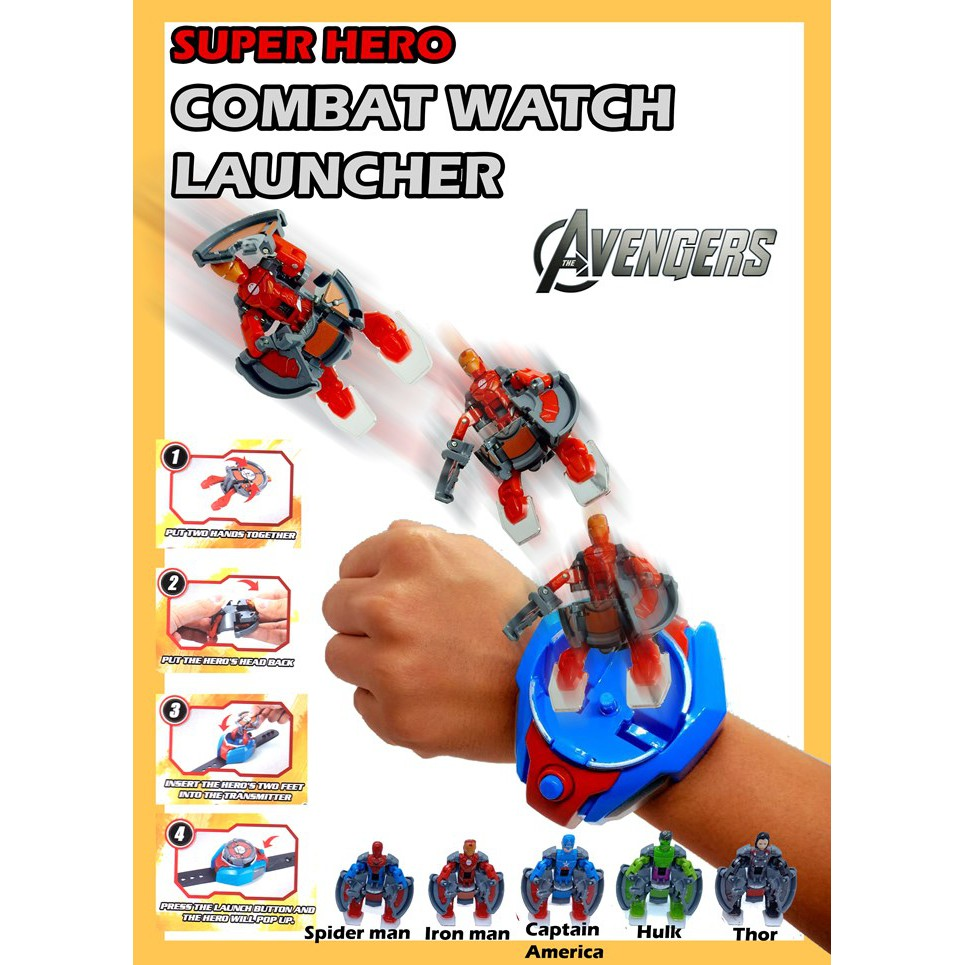 Combat Watch Launcher toy for kids Spiderman Hulk