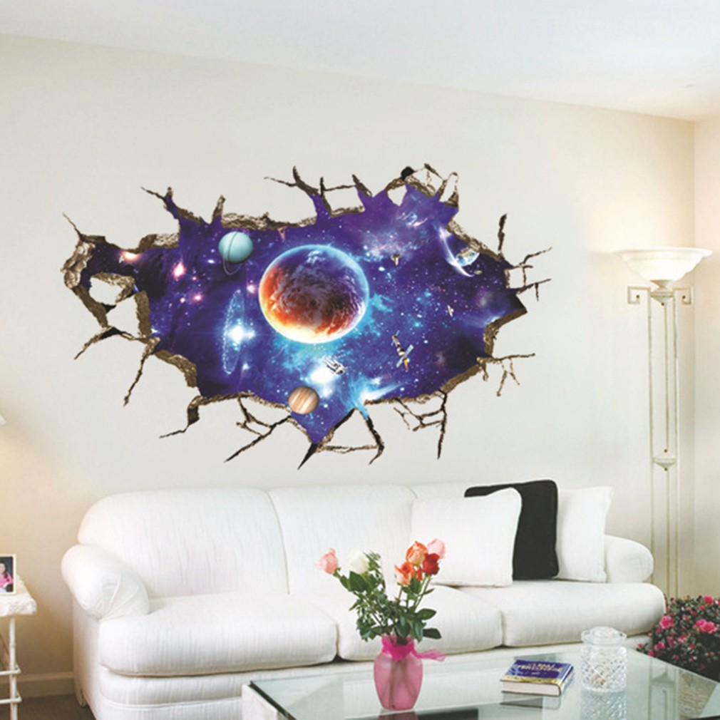 8fe1ed35fb 3D Wall Sticker Outer Space Planet Decoration Art Sticker