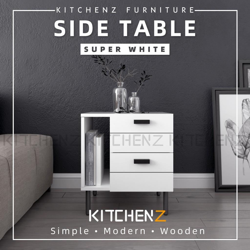 Kitchen Z 1.5FT Jasmine Series Ecomate Jasmine Side Table and Metal Leg Side Table / Meja Sisi - HMZ-FN-ST-J0480-WT