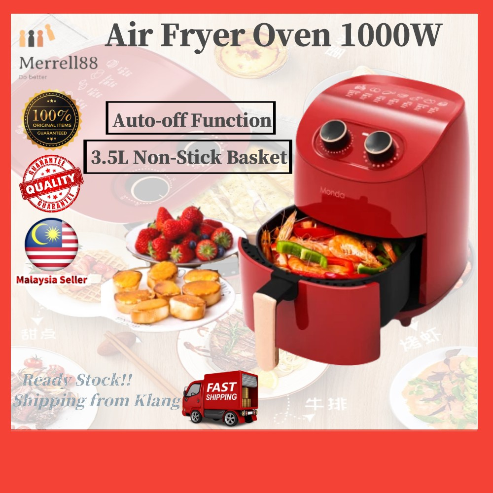 🔥Ready Stock🔥360 ° Hot Air Baking Air fryer Red black Monda oil-free air fryer machine household large capacity 3.5L