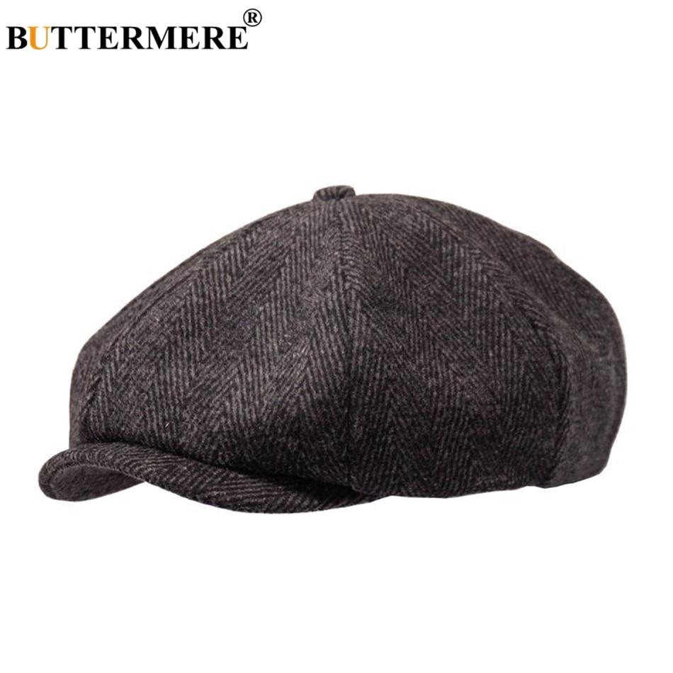 7e5c65025 BUTTERMERE Newsboys Beret Herringbone Men Flat Caps Wool Winter Plaid  Female England Style Classic Octagonal Hats Cap