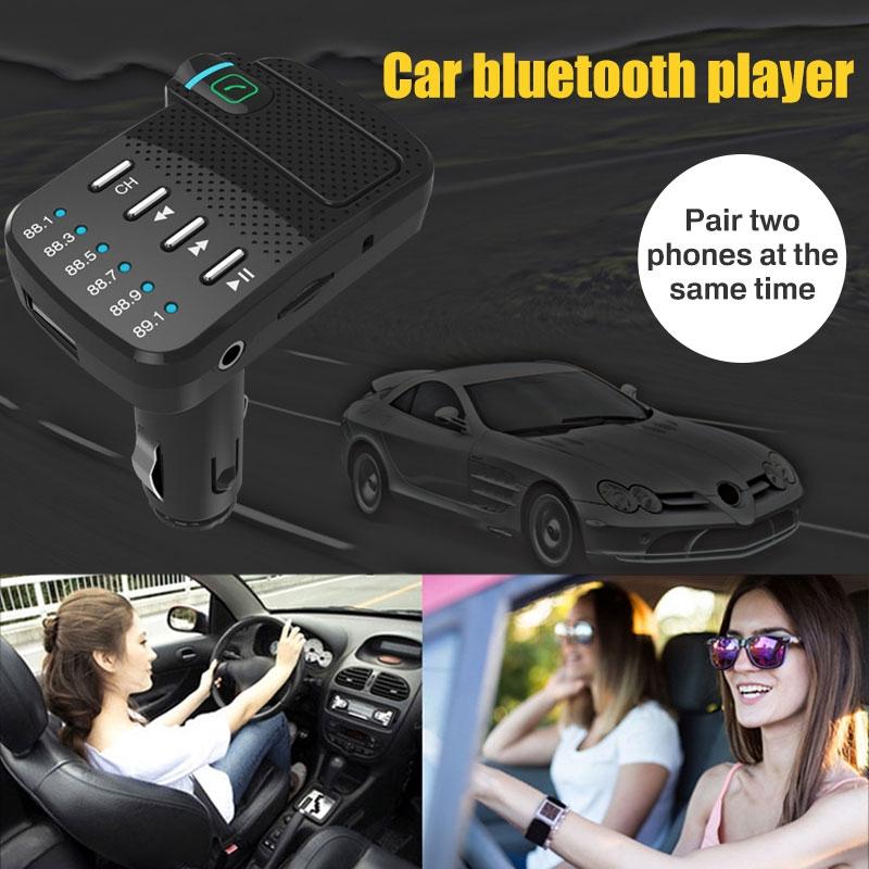 Car Charger Bluetooth Player Wireless Automotive FM Transmitter AUX Input Car Bluetooth Mp3 USB 5V/2.1A DC12V-24V