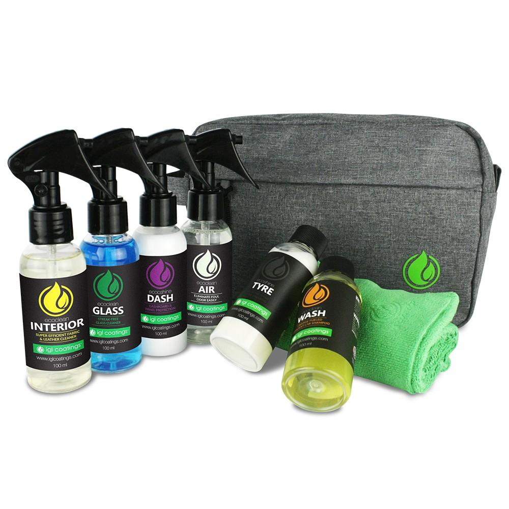 IGL Coatings Travel Kit Bag - Car Care Detailing Kit Car Shampoo Interior Cleaner Air Freshener Tire Conditioner