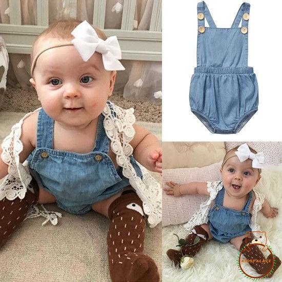 Infant Baby Girls Denim Clothes Playsuit Bodysuit Romper Jumpsuit Outfit Sunsuit