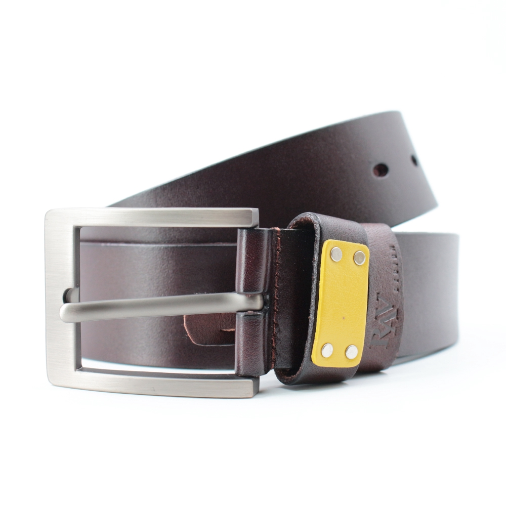 Rav Design Men's 100% Genuine Cow Leather 40mm Pin Buckle Belt Brown |RVB576G1