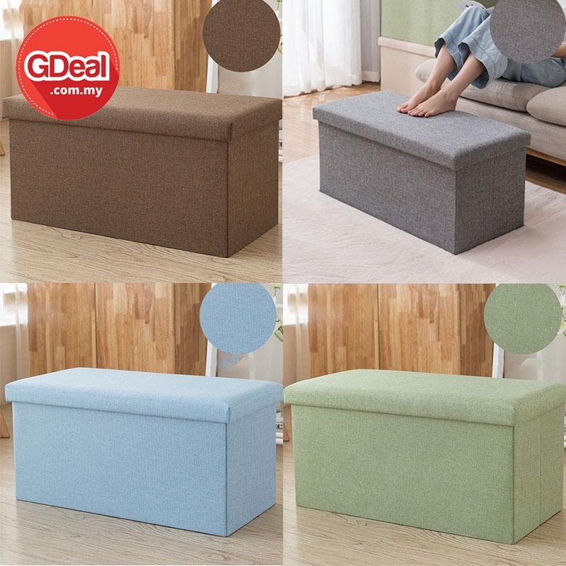 GDeal Home Bedroom Toys Book Organizer 47L Cotton Linen Collapsible Storage Stool Clothes Kotak Simpanan