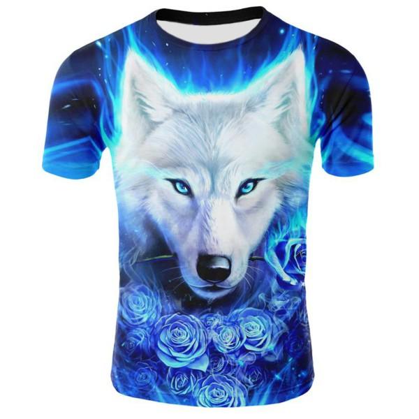 aa3c2452516a Wolf T shirt Men Lightning T shirts Anime Animal Tshirts Printed Unisex  Cool   Shopee Malaysia