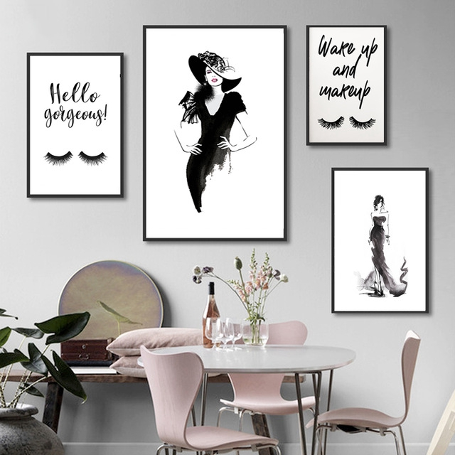 Woman Photo Simple Wall Art Quote Print Poster Fashion Black Dress Watercolor Canvas Painting Picture Home Bedroom Decor Shopee Malaysia