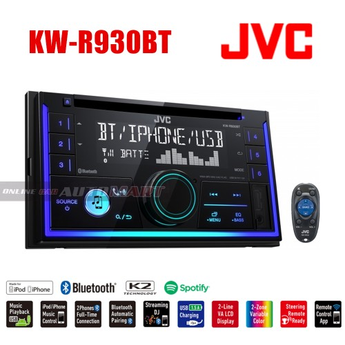 JVC 2-DIN CD Receiver KW-R930BT with Bluetooth(R)and Front USB/AUX Input