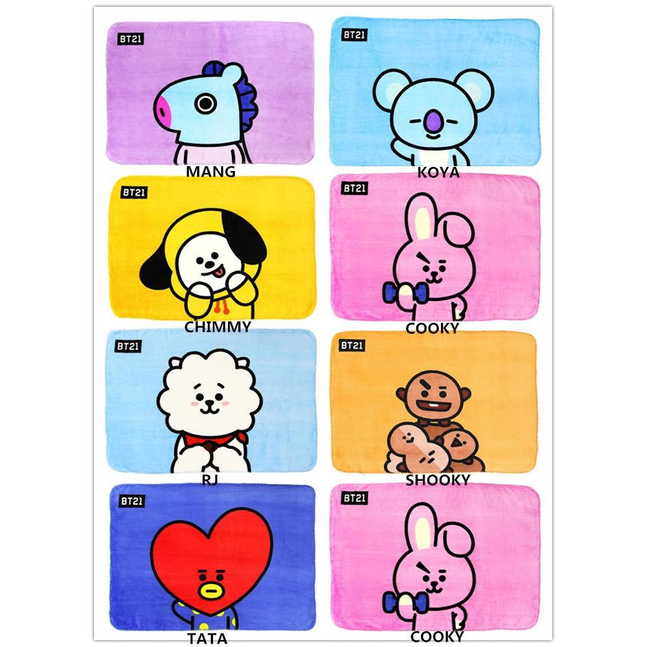 Kpop BTS BT21 Baby Soft Blanket Air Conditioning Nap Cute Blanket Flannel KOYA V | Shopee Malaysia