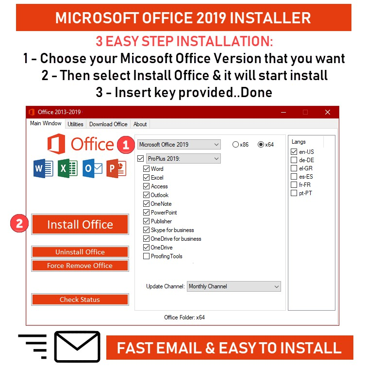 MICROSOFT OFFICE PRO PLUS 2019/2016/2013/2010 For Windows