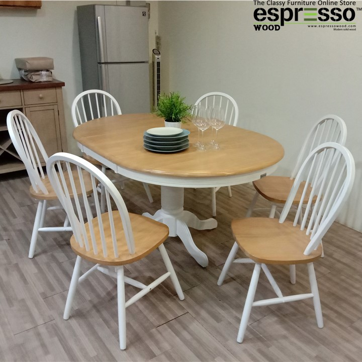 Dining Table Set Extendable Round, Round Extendable Dining Table Set For 6