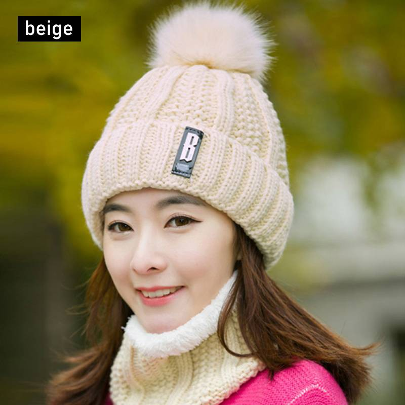 aa7ac6418 2Pcs Scarf Hat Set Women Winter Warm Solid Pompoms Knitted Soft Caps And  Scarves