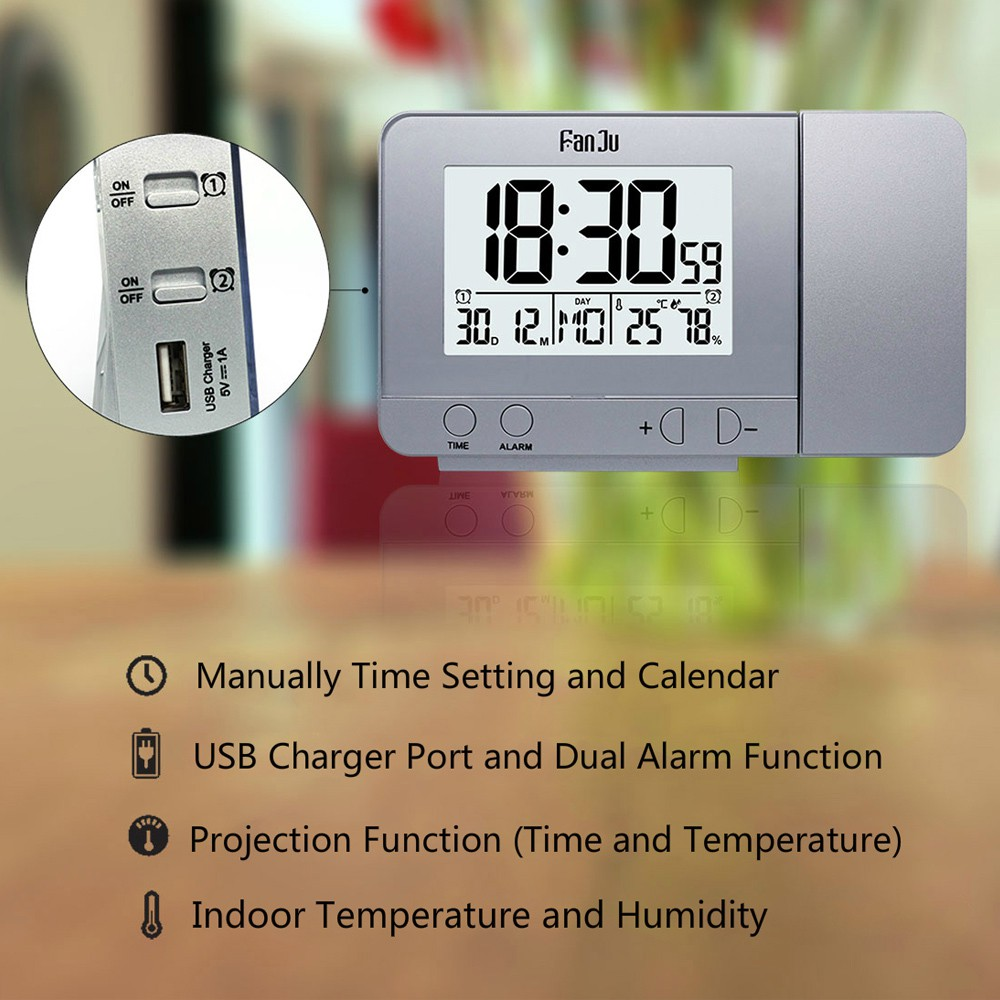 FanJu Projection Alarm Clock Rotatable Digital Projection