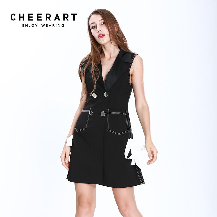 186b3f6b32054 Black Sleeveless Women Black Split Ladies Dresses Slim Bow Button Formal  Dress
