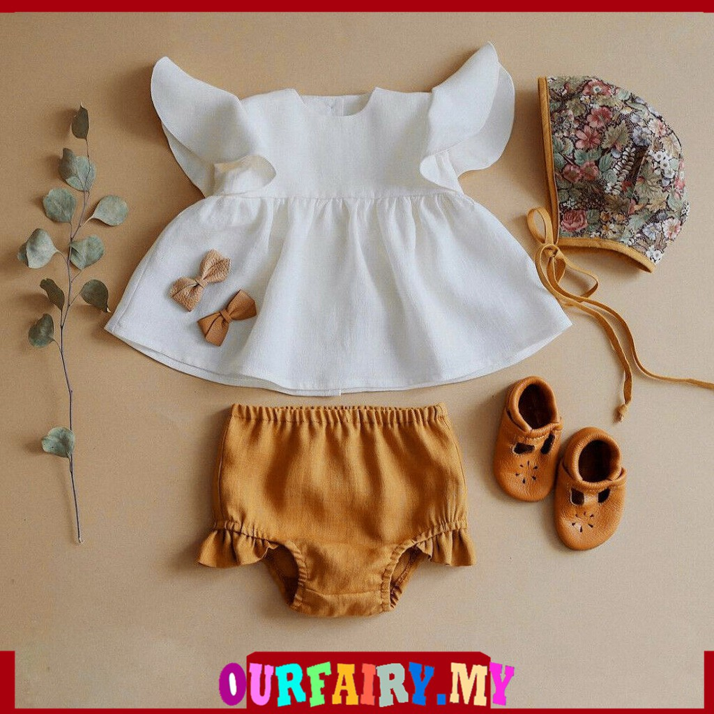 Ruffles Briefs Outfits Set Infant Toddler Baby Girl Summer Ruffles Lace Short Sleeve Tee Tops