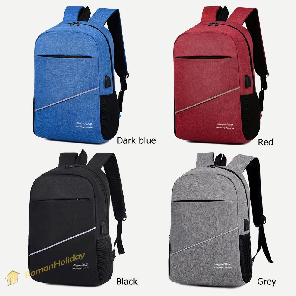 ba6a6cc713c3 3pcs/set Solid Color Backpacks Preppy Style Men School Laptop USB Knapsack