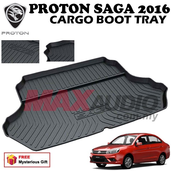 [FREE Gift] PROTON SAGA 2016 ABS RUBBER NON SLIP REAR TRUNK BOOT CARGO TRAY