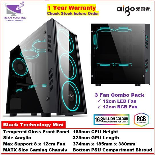 #Aigo Black Technology Mini MATX Front TG Side Acrylic Gaming Chassis  (Combo Fan Pack)