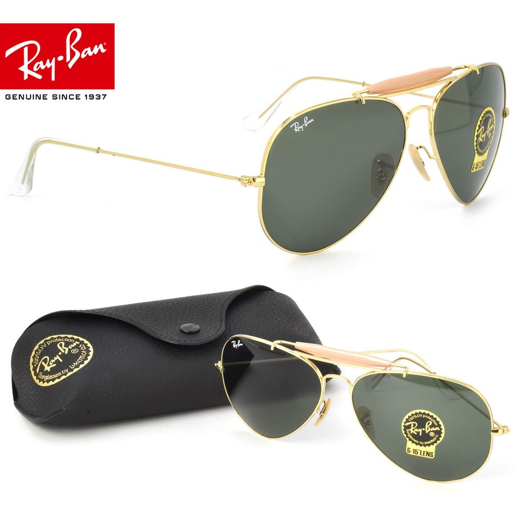 Ray-Ban CockPit RB3362 001 59mm Gold Black Green -AUTHENTIC   Shopee  Malaysia 49f1d0c440