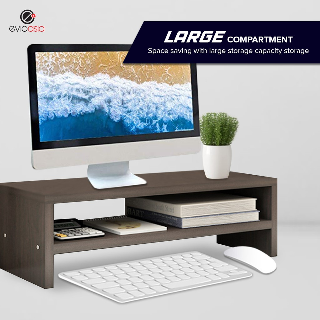 Wood Computer Monitor Stand Riser Desk Organizer for Home Office (Double Layer with Divider)