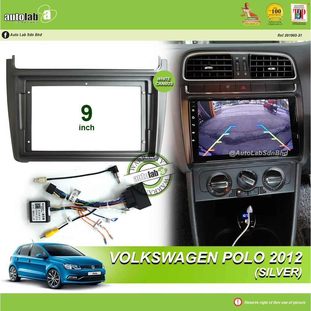 """Android Player Casing 9"""" Volkswagen Polo 2012 Silver (with Socket VW & VW Canbus Module + Antenna Join )"""