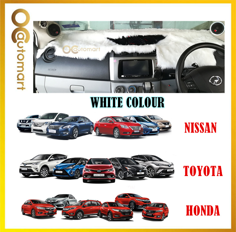 Customized Dashboard Cover Fur / Bulu White Colour For Honda Nissan Toyota Isuzu