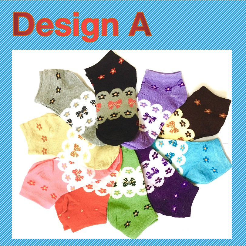 Fashion Women Girl Short Cotton Socks Creative Design Soft Sports Casual Comfortable Anti-Bacterial Odorless Ankle Socks