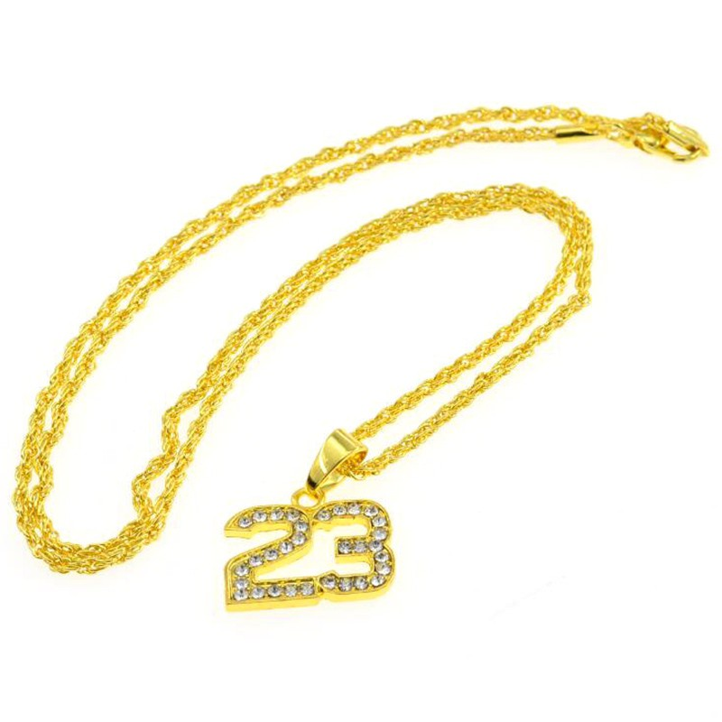 1e21610249 ♥Hip Hop Rap Glamour Number 23 Necklace Full Rhinestone Gold Pendant  Necklace Popular Jewelry